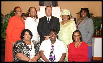 Seated: Bonnie Odom, Dawn Hill, Willie B. Brooks, Standing: Josephine Perry, David Brooks, Lois Williams, Dorothy Beauregard